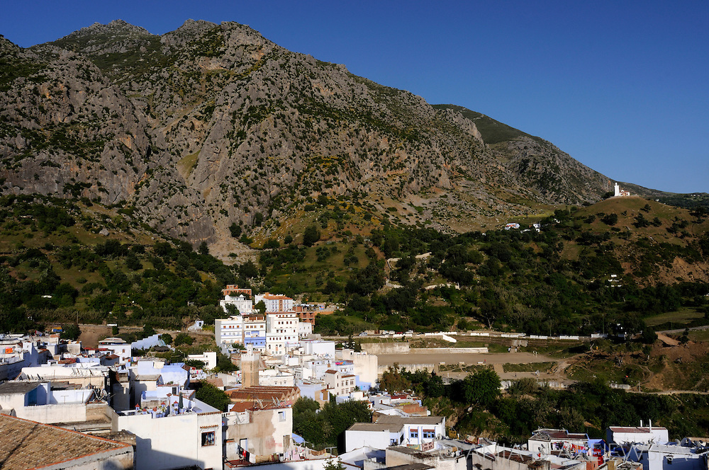 Morocco, Chefchaouen. View for the old medina and surrounding Rif Mountais.