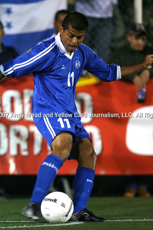 El Salvador's Ronald Cerritos takes a corner kick on Tuesday, March 27th, 2007 at SAS Stadium in Cary, North Carolina. The Honduras Men's National Team defeated El Salvador 2-0 in a men's international friendly.