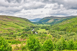 Scenic view of green hill and canyon, Loch a' Bhraoin, Scotland, UK