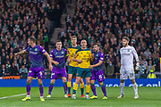 Celtic Captain Scott Brown leads the attack from the corner during the Betfred Scottish League Cup semi-final match between Hibernian and Celtic at Hampden Park, Glasgow, United Kingdom on 2 November 2019.