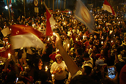 May 9, 2017 - East Jakarta, Capital Region of Jakarta, Indonesia - The mass supporters of Basuki Tjahaja Purnama, convicted in a blasphemy case, held a demonstration in front of Cipinang prison, East Jakarta, Tuesday night. In addition to providing moral support, they asked the court to suspend Basuki's detention and make him a prisoner of the city. (Credit Image: © Tubagus Aditya Irawan/Pacific Press via ZUMA Wire)