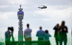 © Licensed to London News Pictures. 03/06/2019. London, UK. Marine One carrying US President Donald Trump flies past the BT Tower over central London as he starts his State Visit to the United Kingdom. During his three days in the UK he will meet with members of the Royal family and outgoing Prime Minister Theresa May before attending 75th Anniversary of D-Day commemorations in Portsmouth and France. Photo credit: Peter Macdiarmid/LNP