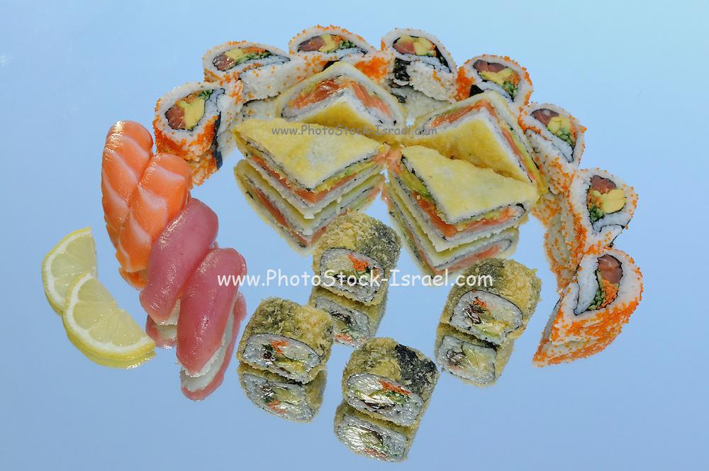 Assortment of Sushi including: Sushi Maki, futo maki, Insideout and sushi sandwich