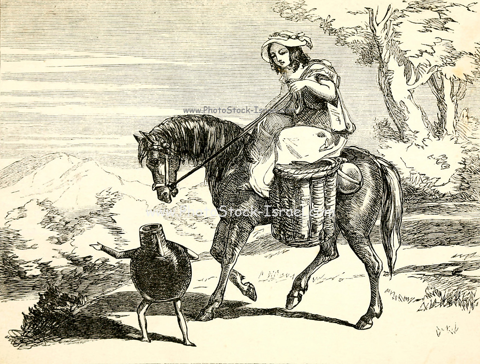 Patty going to Market from Patty and her pitcher a  Fairy Tale from the book 'Fairy tales' by Forrester, Alfred Henry, 1804-1872 [Alfred Henry Forrester (10 September 1804 – 26 May 1872) was an English author, comics artist, illustrator and artist, who was also known under the pseudonym of Alfred Crowquill.