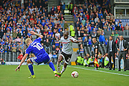 Fulham FC forward Sone Aluko (24) pulls away from Cardiff City midfielder Lex Immers (10) during the EFL Sky Bet Championship match between Fulham and Cardiff City at Craven Cottage, London, England on 20 August 2016. Photo by Jon Bromley.