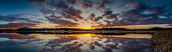 """""""Sunset at Boca Reservoir 6"""" - Wide angle panoramic photograph of an explosive sunset at Boca Reservoir in Truckee, California."""