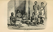Cambodian family engraving on wood From The human race by Figuier, Louis, (1819-1894) Publication in 1872 Publisher: New York, Appleton