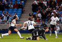 Fotball<br /> EM kvinner 2005<br /> Foto: SBI/Digitalsport<br /> NORWAY ONLY<br /> <br /> England v Finland<br /> 05/06/2005<br /> <br /> England's Karen Carney (#14) wheels away in delight after giving her team a 3-2 victory.