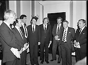 Taoiseach Meets With Unionist Representatives. (N96)..1981..08.10.1981..10.08.1981..8th October 1981..At Government Buildings, An Taoiseach, Dr Garret Fitzgerald, met with representatives of the Northern Ireland Unionist Community. They hoped to discuss on-going problems which were bedeviling the communities in the North of Ireland...Image shows An Taoiseach, Dr Garret Fitzgerald and An Tanaiste, Mr Michael O'Leary  welcoming the Northern Unionists to Leinster House, Dublin..Pictured (L-R), Mr Bob McCartney, Q.C., Mr Peter Smith Q.C., Bryan Somers, Businessman, Mr Michael O'Leary TD, Dr Garret Fitzgerald TD, Mr Sean Hall, Mr Herbert McCracken and Mr Gordon Smyth,Businessmen.