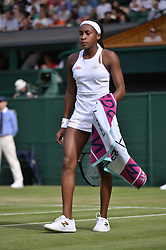 © Licensed to London News Pictures. 05/07/2019. London, UK. Cori Gauff of United States of America plays Polona Hercog  in the third round of the ladies singles draw of the Wimbledon Tennis Championships 2019 on Day 5 held at the All England Lawn Tennis and Croquet Club. Photo credit: Ray Tang/LNP