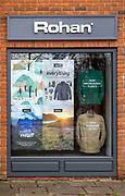 Shop window clothing display Rohan store shop, Marlborough, Wiltshire, England, UK