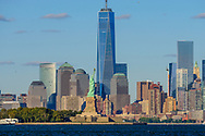 Freedom Tower, 1 WTC, the tallest skyscraper in the Western Hemisphere, designed by David Childs, Statue of Liberty, New York City Skyline, Manhattan, New York