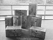"""9707-B31. """"Half Million in Gold Dust on Str. 'T. C. Power' C. L. Andrews, July 1906"""" shows shipping boxes stenciled """"From Washington - Alaska Bank, Fairbanks"""""""