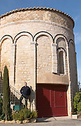 The chapel converted into tasting room and wine shop. Domaine Mas Gabinele. Faugeres. Languedoc. France. Europe.