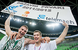 Edo Muric of Krka and Matej Rojc of Krka celebrate after the basketball match between KK Union Olimpija and KK Krka in 4th Final match of Telemach Slovenian Champion League 2011/12, on May 24, 2012 in Arena Stozice, Ljubljana, Slovenia.  Krka defeated Union Olimpija third time and became Slovenian National Champion 2011/12. (Photo by Vid Ponikvar / Sportida.com)