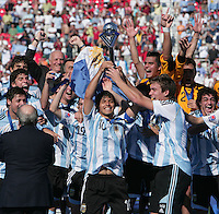 WORLD CUP U20 CHAMPION CELEBRATION <br /> ARGENTINA its the new u20 Soccer football FIFA Champion, after beat in the final match the team in Toronto, Canada 22/07/07<br /> ARGENTINA (ARG) [2] Vs. CZECH Republic (CZE) [1] <br /> Here ARGENTINE  players with the U20 World Cup Trophy. <br /> With the trophy SERGIO AGUERO (L) and Captain CAHAIS Matias (R)<br /> © Gabriel Piko / PikoPress