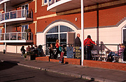 A3A8X7 Cafe Ipswich waterfront Wet Dock urban redevelopment project Suffolk England. Image shot 2006. Exact date unknown.