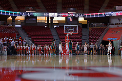 10 December 2017: Redbird defense during an College Women's Basketball game between Illinois State University Redbirds and the Eagles of Eastern Michigan at Redbird Arena in Normal Illinois.