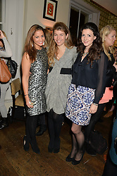 Left to right, KATY WICKREMESINGHE, AMBER NUTTALL and SHIRLEY LEIGH WOOD-OAKES at a party to celebrate the publication of 'Honestly Healthy For Life' by Natasha Corrett held at Bumpkin, 209 Westbourne Park Road, London on 26th March 2014.