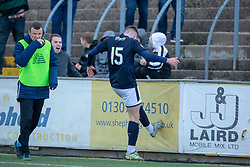 Raith Rovers Kevin Nisbet cele scoring their second goal. half time : Forfar Athletic 1 v 2 Raith Rovers, Scottish Football League Division One played 27/10/2018 at Forfar Athletic's home ground, Station Park, Forfar.