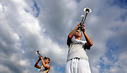 Brett Brokaw, front, practices with other members of the Central Catholic High School band on Friday during band camp at the school. (The Independent/Crystal LoGiudice).