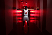 BLOOMINGTON, IN - JUNE 26, 2019 - Forward De'Ron Davis #20 of the Indiana Hoosiers poses for a portrait at the Photo Studio in Bloomington, IN. Photo By Indiana Athletics