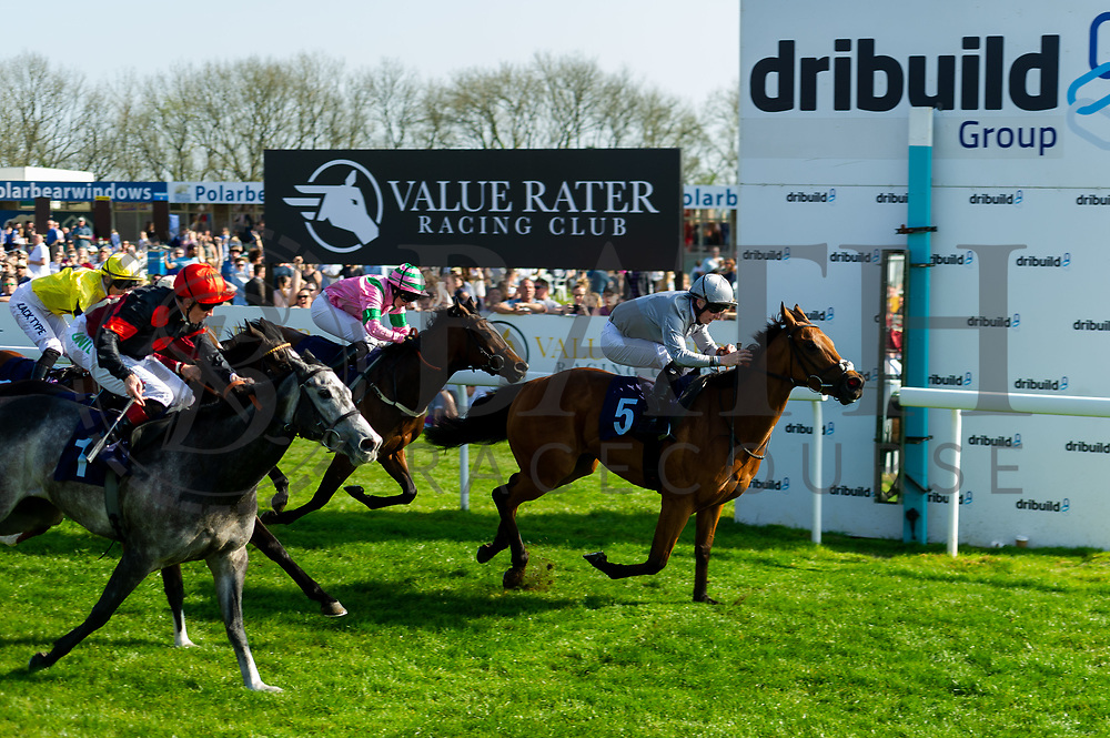 Gold Filigree ridden by Shane Kelly and trained by Richard Hughes, Blame Roberts ridden by Hayley Turner and trained by Robert Cowell, Queen of Desire ridden by Jack Mitchell and trained by Roger Varian  - Ryan Hiscott/JMP - 19/04/2019 - PR - Bath Racecourse- Bath, England - Race 5 - Good Friday Race Meeting at Bath Racecourse