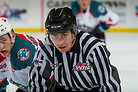 KELOWNA, CANADA - FEBRUARY 16: Linesman Layne Richardson stands on the ice at the Kelowna Rockets against the Vancouver Giants  on February 16, 2019 at Prospera Place in Kelowna, British Columbia, Canada.  (Photo by Marissa Baecker/Shoot the Breeze)