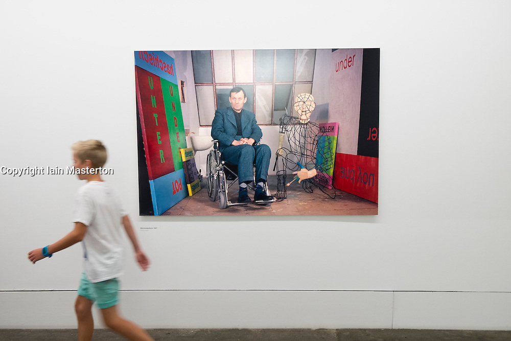 Exhibition by Martin Kippenberger called Sehr Gut Very Good at Hamburger Bahnhof Art Museum in Berlin Germany