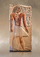 Ancient Egyptian tomb relief sculpture depicting the scribe and judge Ankhirptah. Middle Kingdom Egypt, 2170 BC. Neues Museum Berlin Cat No: AM 7337.. .<br /> <br /> If you prefer to buy from our ALAMY PHOTO LIBRARY  Collection visit : https://www.alamy.com/portfolio/paul-williams-funkystock/ancient-egyptian-art-artefacts.html  . Type -   Neues    - into the LOWER SEARCH WITHIN GALLERY box. Refine search by adding background colour, subject etc<br /> <br /> Visit our ANCIENT WORLD PHOTO COLLECTIONS for more photos to download or buy as wall art prints https://funkystock.photoshelter.com/gallery-collection/Ancient-World-Art-Antiquities-Historic-Sites-Pictures-Images-of/C00006u26yqSkDOM