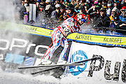 SHOT 12/4/15 11:35:05 AM - French skier Guillermo Fayed crashes into a safety net in the finish area at the 2015 Audi Birds of Prey Downhill at Beaver Creek Ski Resort in Beaver Creek, Co. Birds of Prey is the only men's Audi FIS Ski World Cup stop in the United States. Fayed finished third with a time of 1:43.04. (Photo by Marc Piscotty / © 2015)