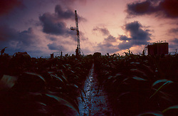Stock photo of a rig site through a field of crops