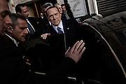 Silvio Berlusconi lascia il teatro Capranica dopo il comizio del Popolo della Liberta' durante il quale sono state presentate le liste per le prossime elezioni politiche. Roma, 25 gennaio 2013.<br /> Christian Mantuano /  Oneshot