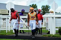 Jockeys return to the parade ring - Mandatory by-line: Ryan Hiscott/JMP - 24/08/20 - HORSE RACING - Bath Racecourse - Bath, England - Bath Races