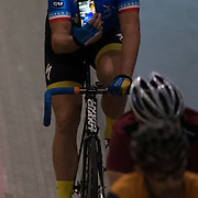 Elite Cyclist, John Welsh, taking a selfie while cycling at the Velo Sports Center in the StubHub complex in Carson, California, on November 3, 2016.<br /> <br /> <br /> <br /> Photo by Carolyn Rogers- Sports Shooter Academy