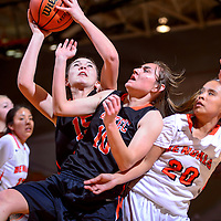 021315       Cable Hoover<br /> <br /> Aztec Tiger Sierra Sanders (15) knocks aside teammate Elana Kresl (10) and Gallup Bengal Raelynn Yazzie (20) for a rebound Friday at Gallup High School.