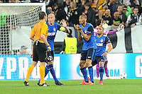 Contestation Andre RAGGI / FABINHO - 14.04.2015 - Juventus Turin / Monaco - 1/4Finale aller Champions League<br /> Photo : Jean Paul Thomas / Icon Sport
