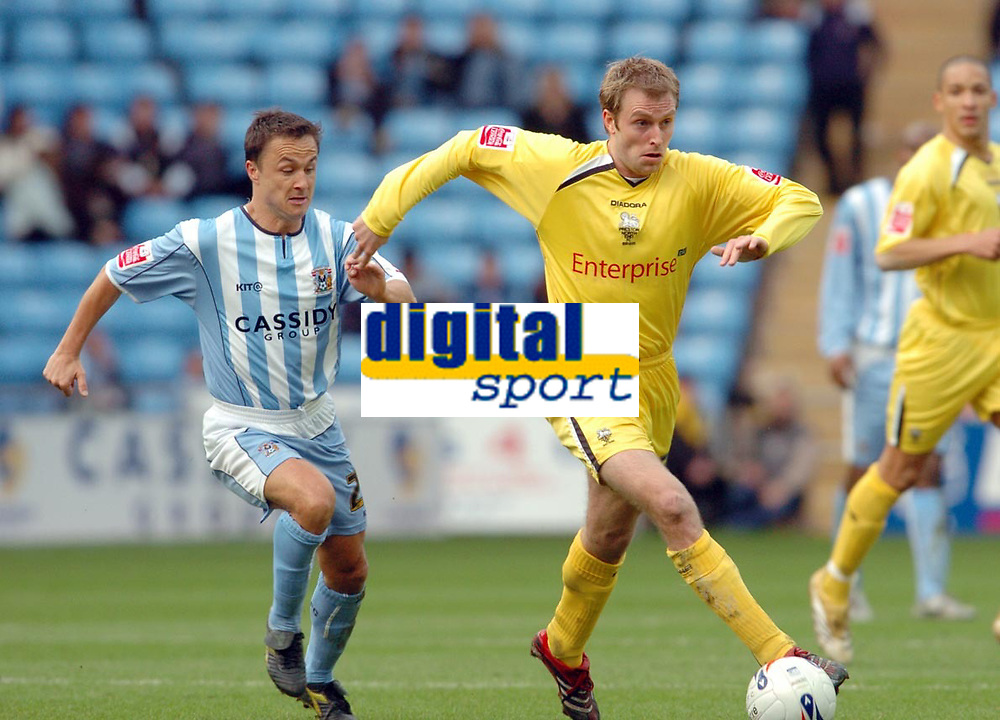 Photo: Leigh Quinnell.<br /> Coventry City v Preston North End. Coca Cola Championship. 01/04/2006. Prestons Chris Sedgwick gets away from Coventrys  Dennis Wise.