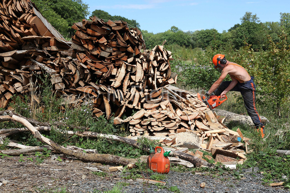 Young man cutting wood with a chainsaw with no shirt on next to a pile of timber, community farm, Devon, UK