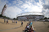a General view outside of the London Stadium as fans arrive before k/o. UEFA Europa league, 3rd qualifying round match, 2nd leg, West Ham Utd v NK Domzale at the London Stadium, Queen Elizabeth Olympic Park in London on Thursday 4th August 2016.<br /> pic by John Patrick Fletcher, Andrew Orchard sports photography.