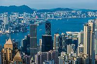 Central, Hong Kong, China- June 2 , 2014: Hong Kong Bay and Central skyline cityscape