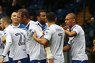 James Vaughan (r) of Bury celebrates with his teammates after scoring his teams 1st goal. EFL Skybet football league one match, Bury v Port Vale at Gigg Lane in Bury ,Lancs on Saturday 3rd September 2016.<br /> pic by Chris Stading, Andrew Orchard sports photography.
