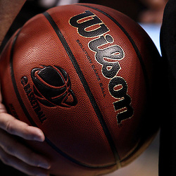 Mar 17, 2011; Tampa, FL, USA; A referee holds a basketball during the first half of the second round of the 2011 NCAA men's basketball tournament game between the Michigan State Spartans and the UCLA Bruins at the St. Pete Times Forum.  Mandatory Credit: Derick E. Hingle