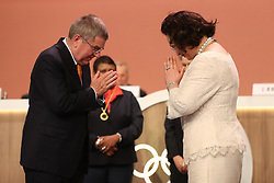 LIMA, Sept. 16, 2017  New International Olympic Committee (IOC) member Khunying Patama Leeswadtrakul (R) greets IOC President Thomas Bach after taking oath during the 131st IOC session in Lima, Peru, on Sept. 15, 2017. The 131st IOC session concluded on Friday. (Credit Image: © Li Ming/Xinhua via ZUMA Wire)