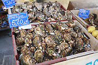The Saturday market in Uzès, Languedoc, France..oysters from Bouzique, in the Languedoc, the only oysters in France from the Mediterranean.October 6, 2007..Photo by Owen Franken for the NY Times...Assignment ID: 30049869A