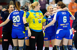Players of Slovenia celebrate after winning the handball game between Women National Teams of Slovenia and Switzerland in 2014 Women's European Championship Qualification, on March 30, 2014 in Arena Kodeljevo, Ljubljana, Slovenia. Photo by Vid Ponikvar / Sportida