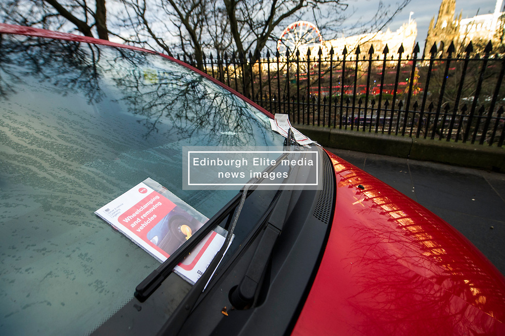 Pictured: Car parked illeagaly on Market Street, Edinburgh, overlooking Princes Street.<br /> <br /> There was confusion on Wednesday  when the parking app in Edinburgh, Ringo, suggested there was free parking in the city centre which was not the case as evidenced by the number of tickets issued by council wardens.  However, there appears to be no doubt over the penalties due to be paid by the owner of the Mitsubishi left on Market Street today. Not the best way to end the ld year.<br /> <br /> <br /> <br /> Ger Harley   EEm 29 December 2016