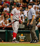 Aug 8, 2012; Houston, TX; USA; Washington Nationals right fielder Bryce Harper (34) argues a called third strike with umpire Angel Hernandez (55) during the fourth inning against the Houston Astros at Minute Maid Park. Mandatory Credit: Thomas Campbell-US PRESSWIRE