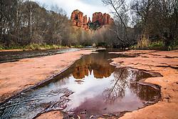 Castle Rock reflection in Oak Creek in Sedona Arizona
