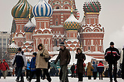 Moscow, Russia, 20/02/2005..Crowds of tourists walk through a snowbound Red Square.